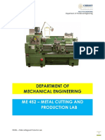 Metal Cutting and Production LAB Manual-New (ME452)