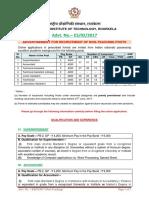 Nit Rourkela Recruitment Notification
