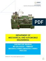 ME434 & AU335- Primary Manufacturing&Manufacturing Process Lab Component Manual