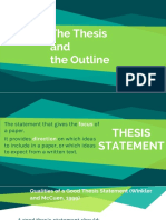 The Thesis and the Outline[1]
