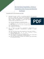 Exercícios de Farmácia Hospitalar Das Provas Da Marinha Do Brasil