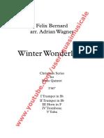 """Christmas """"Winter Wonderland"""" (Felix Bernard) arr. Adrian Wagner - Brass Quintet (Sheet Music) Arrangement"""