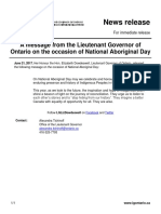 Lieutenant Governor's Message on National Aboriginal Day