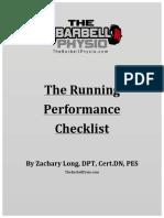 Runners Performance Checklist