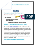 Recognize a Quality Fiber Patch Cord