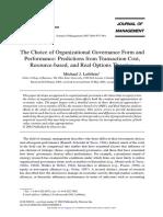 Organizational Governance and Performance