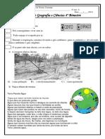 Prova de  Geografia e Ciências 4° ano 4° bimestre