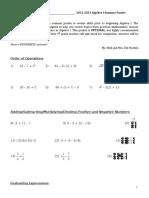 Algebra 1 Summer Packet