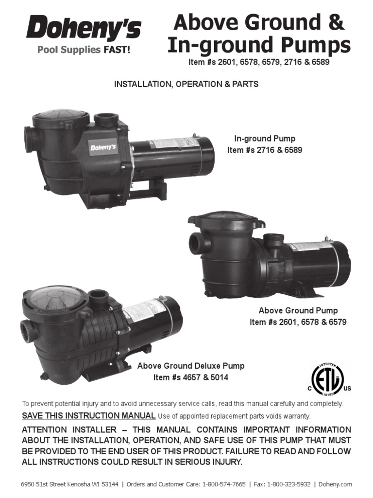 Doheny Pool Pumps | Pump | Electrical WiringScribd