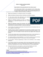 Example of Questions for Written Exams - Quality and Reliability  of Software