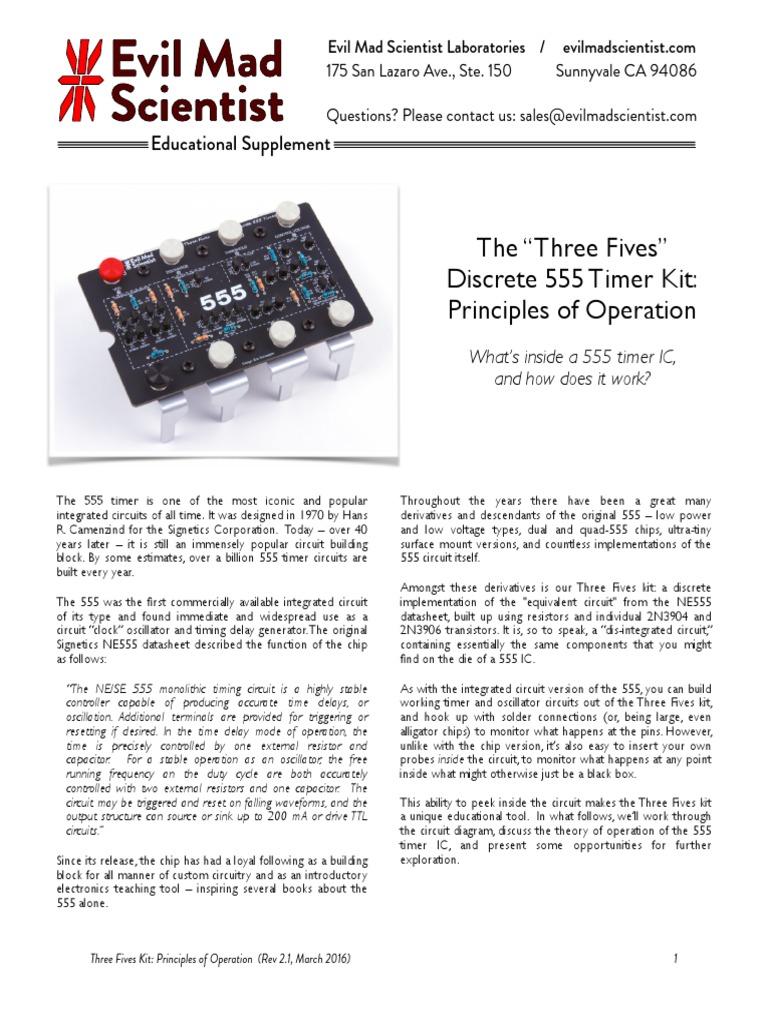 555 Timer Principles Revb3pdf Bipolar Junction Transistor Amplifier Projects For Beginners Delay Circuit Design