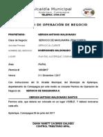 Permiso de Operacion de Negocio Actual-2017-Rosquillas