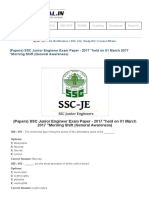 (Papers) SSC Junior Engineer Exam Paper - 2017 _held on 01 March 2017 _Morning Shift (General Awareness) _ SSC PORTAL _ SSC CGL, CHSL, Exams Community