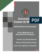 MÉTRICAS EN EL DESARROLLO DE PROYECTOS