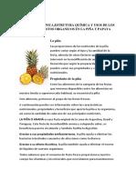 Familia Botánica estrutura Química y Usos de Los Compuestos Organicos en La Piña y Papaya