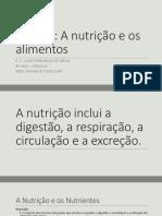 U2T1 a T5 - A Alimentação Humana