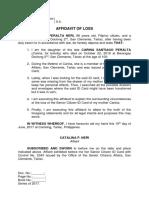Affidavit of Loss - Catalina (Osca Id Card)