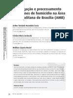 Investigação e processamento dos crimes de homicídio na Área Metropolitana de Brasília (AMB)