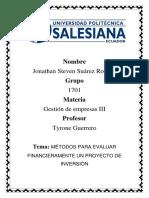 Métodos de Evaluación Financiera en Evaluación de Proyectos