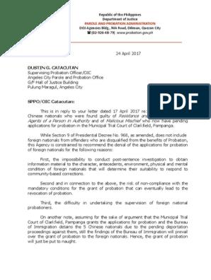 Letter to SPPO Catacutan - 04-24-17 | Probation | Probation