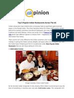 Top 5 Popular Indian Restaurants Across The US