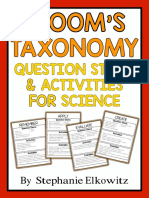 Blooms Taxonomy Question Stems and Activities for Science