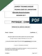 BAC STL Bio Physique SUJET
