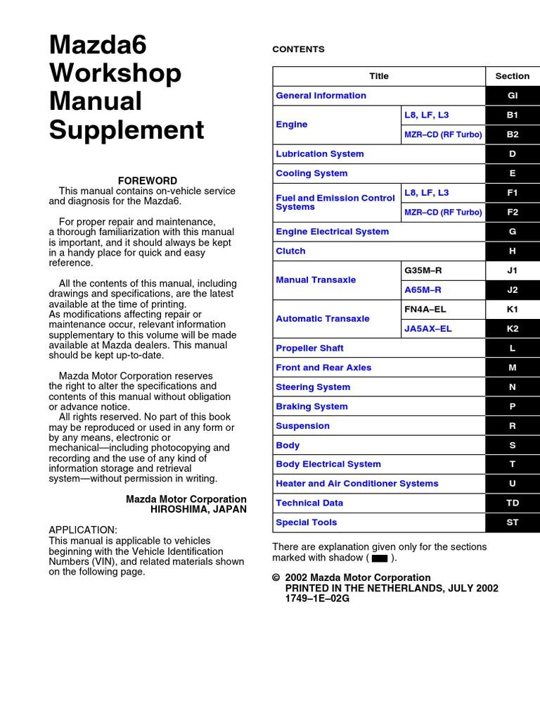 Mazda 3 Service Manual: Oil Control Valve (OCV) RemovalInstallation Mzr 2.0, Mzr 2.5