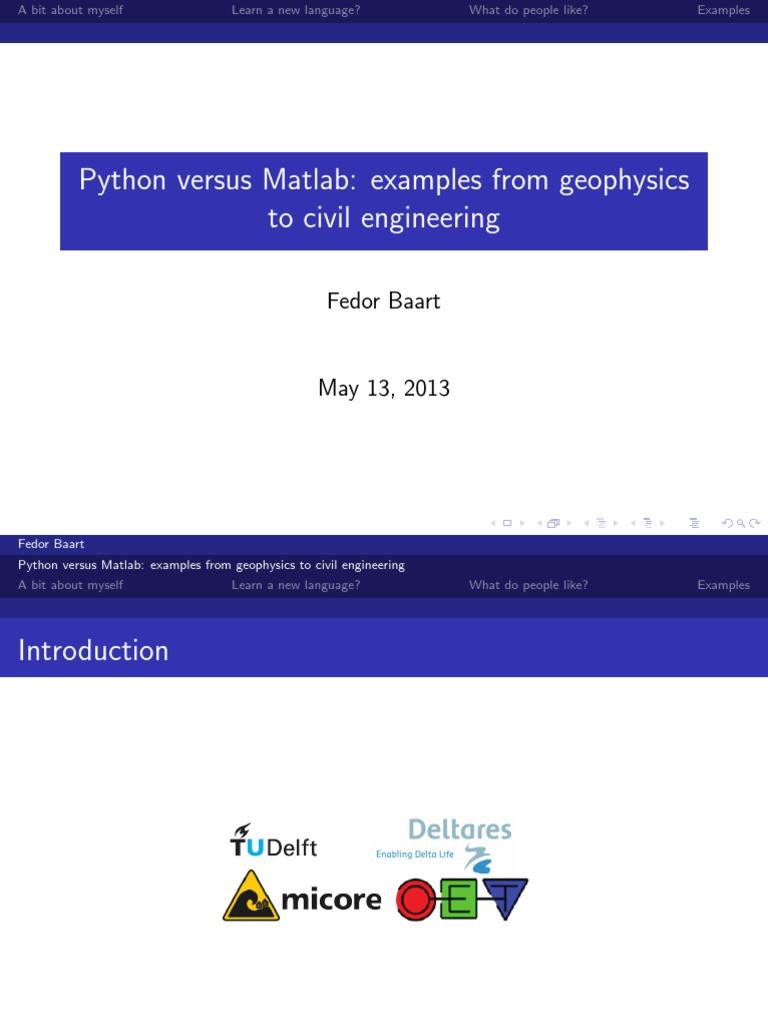Python versus Matlab: examples in civil engineering