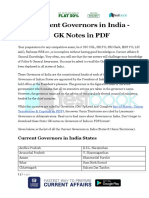 Current Governors in India GK Notes in PDF