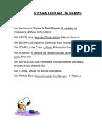 Propostas Para Leitura de Férias 3.º Ciclo
