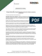 19-06-17 Entrega Gobernadora Claudia Pavlovich acciones de vivienda y proyectos productivos. C-0617107