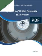 History of Speakers for the B.C. Legislature