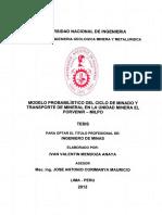 MODELO PROBABILISTICO DEL CICLO DE MINADO Y TRANSPORTE DE MINERAL EN LA UM EL PORVENIR MILPO.pdf
