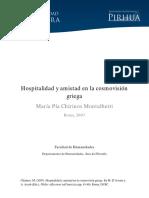 Hospitalidad y Amistad en La Cosmovision Griega