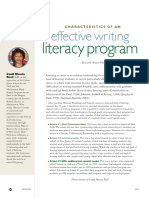 Characteristics of Effective Writing Literacy Program