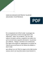 Análisis Riesgos Eléctricos Taller de Soldadura y Electricidad