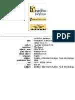 Clostridium Botulinum - Ecology and Control in Foods (1993)