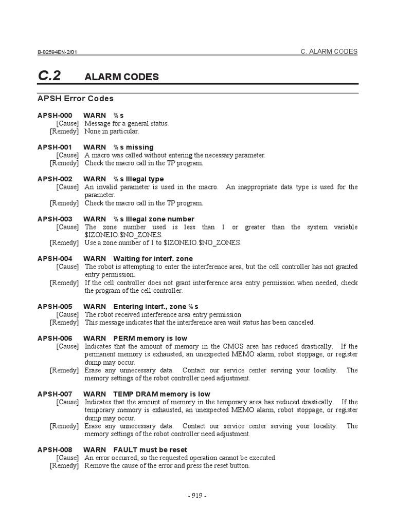 Fanuc Alarm Codes | Input/Output | Welding