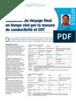 Validation du rinçage final en temps réel par la mesure de conductivité et COT (La Vague 39)