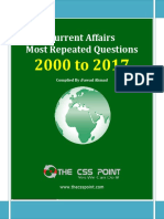 Most Repeated Question Current Affairs - 2000 to 2017 Ver1
