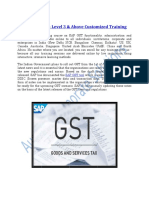 SAP GST Course- Level 3 & Above Customized Training