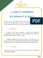 Theorie Et Experience La Raison Et Le Reel