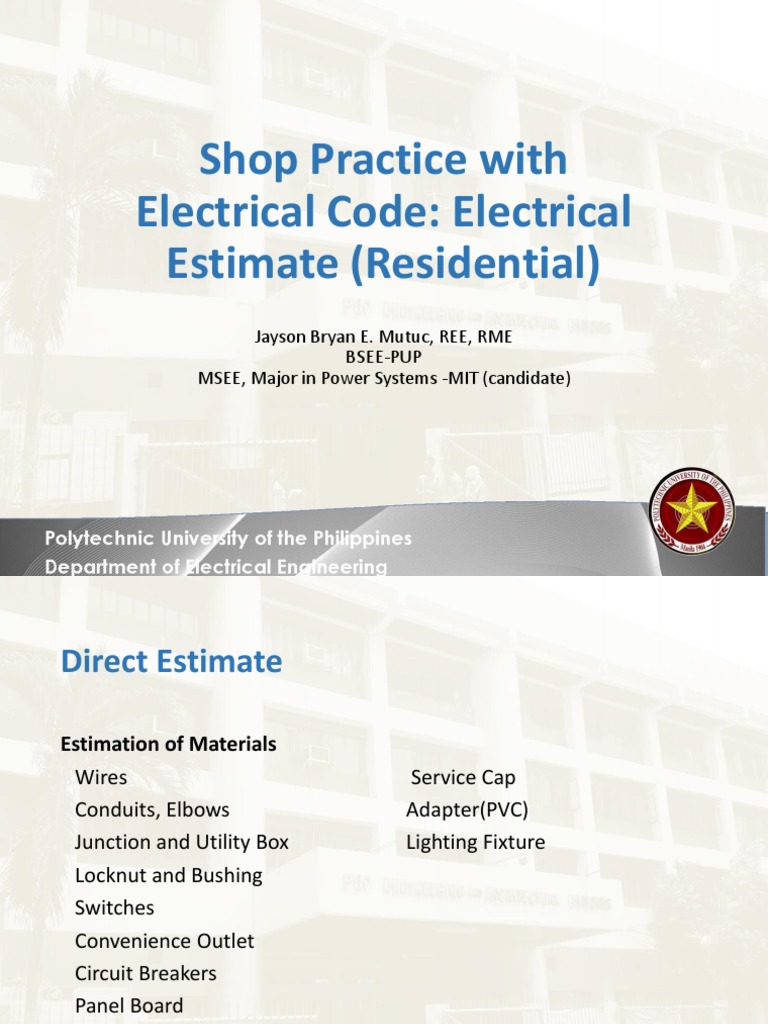 Lecture 13 Electrical System Estimate Residential | Electrical ...
