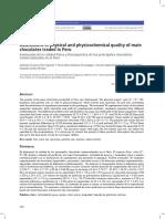 Evaluación de la calidad física y fisicoquímica de los principales chocolates comercializados en el Perú