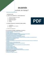 El COntrato de Trabajo en ESPAÑA