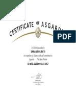 Certificate of Asgardia