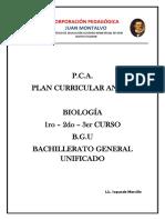 Planificación de biología de 1er a 3ero de Bachillerato