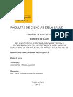 APLICACIÓN DE CUESTIONARIO DE ADAPTACION Y ESTANDARIZACION DEL INVENTARIO DE INTELIGENCIA EMOCIONAL DE BarOn ICE
