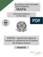 Aisipoa – Agente de Inspeção Sanitária e Industrial de Produtos de Origem Animal - Tipo 4